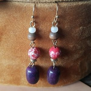 Stone and wooden beaded dangle earrings